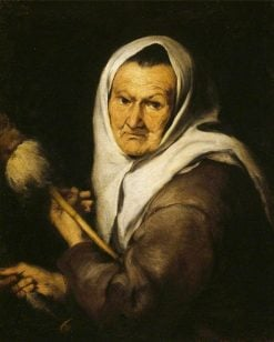 An Old Woman Holding a Distaff and Spindle | BartolomE Esteban Murillo | Oil Painting