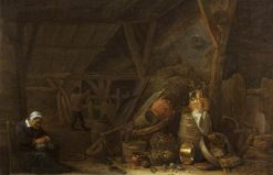 A Barn with a Sleeping Cook | David Teniers II | Oil Painting
