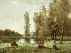 La vache a l'abreuvoir | Jean Baptiste Camille Corot | Oil Painting