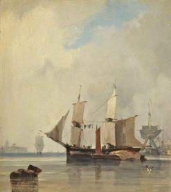 Fishing Boats in a Calm: Ships at Anchor   Richard Parkes Bonington   Oil Painting