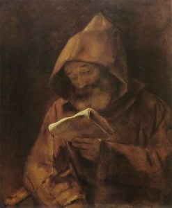 A Monk Reading | Rembrandt van Rijn | Oil Painting