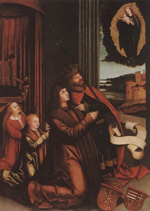 Saint Ladislas Presents Wladislav II and his Sons to the Virgin   Bernhard Strigel   Oil Painting