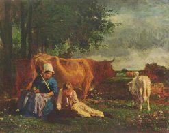 Farm Peasants at Rest | Constant Troyon | Oil Painting