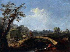 Landscape with Bridge   Francesco Zuccarelli   Oil Painting