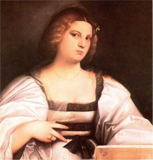 Portrait of a Lady Behind a Parapet | Giovanni Cariani | Oil Painting