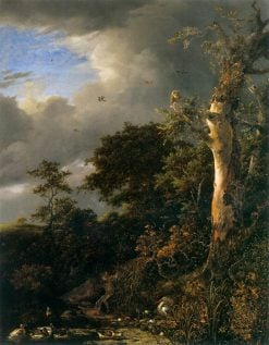 Oak Tree and Dense Shrubbery at the Edge of a Pond | Jacob van Ruisdael | Oil Painting