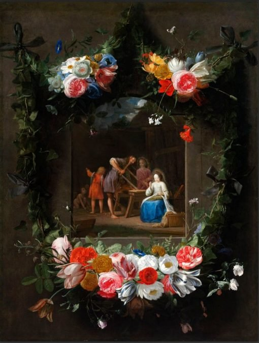 Garland of Flowers Surrounding the Holy Family | Johannes van der Baren | Oil Painting
