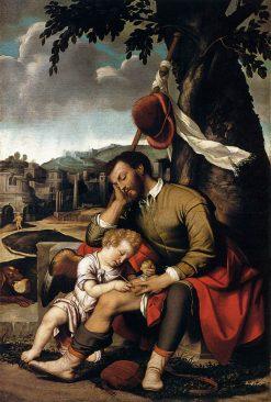 Saint Roch with an Angel   Moretto da Brescia   Oil Painting