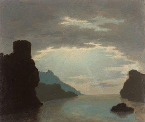 Rocky Bay Scene   Alexander Cozens   Oil Painting