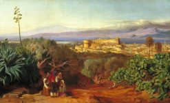 View of Reggio and the Straits of Messina   Edward Lear   Oil Painting