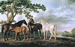 Mares and Foals on a River Bank | George Stubbs | Oil Painting