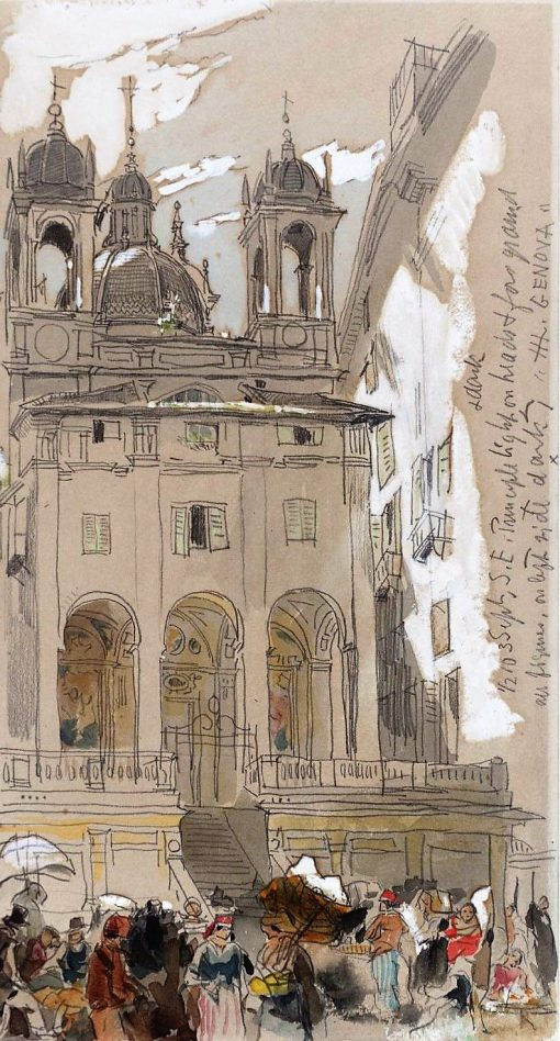 Genoa; a Crowd outside a Church   James Holland   Oil Painting