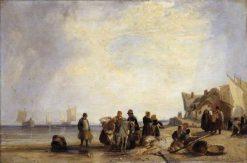 French Coast with Fishermen   Richard Parkes Bonington   Oil Painting