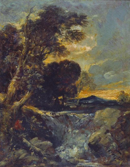 Waterfall with Fisherman | William James Muller | Oil Painting