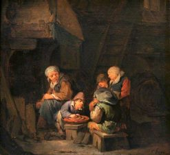 A Cottage Interior with Peasants | Cornelis Pietersz Bega | Oil Painting