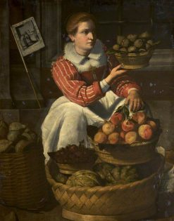 A Woman Selling Fruit with a Pilgrimage Banner | Italian School th Century   Unknown | Oil Painting