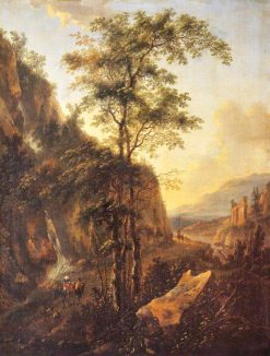 A Mountainous Italian Landscape with Travellers on a Road | Nicolaes Berchem | Oil Painting