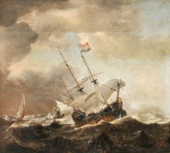 Shipping in a Rough Sea | Willem van de Velde the Younger | Oil Painting