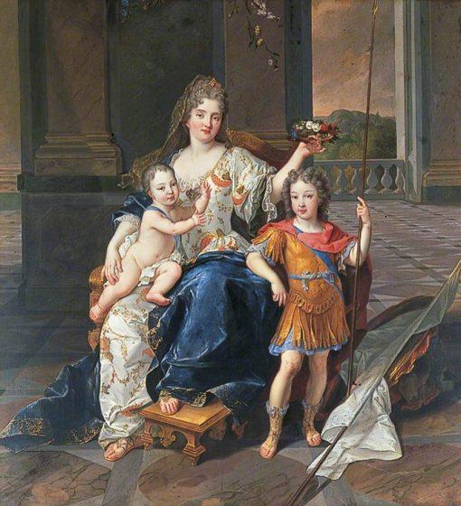 La Duchesse de La Ferté with the Duc de Bretagne and the Duc d'Anjou   Francois de Troy   Oil Painting