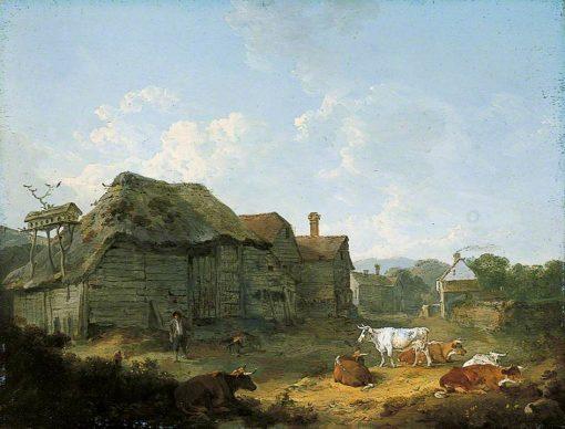 A Farmyard in Kent | Julius Caesar Ibbetson | Oil Painting