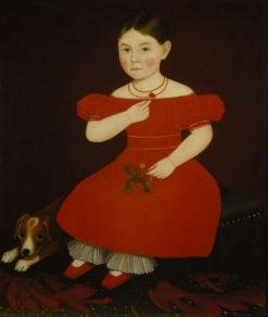 Girl in a Red Dress | Ammi Phillips | Oil Painting