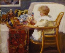 Baby Berthe in a High Chair with Toys | Frederick William MacMonnies | Oil Painting