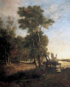 Woodlands with a River and Barges with Sails | John Crome | Oil Painting