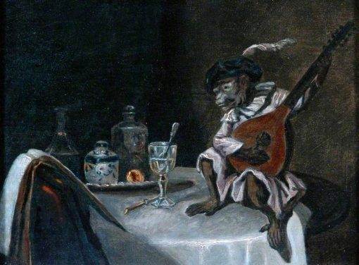 A Monkey Playing a Lute | Alexandre Gabriel Decamps | Oil Painting