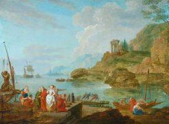 A Seaport | Charles Francois Grenier de Lacroix | Oil Painting