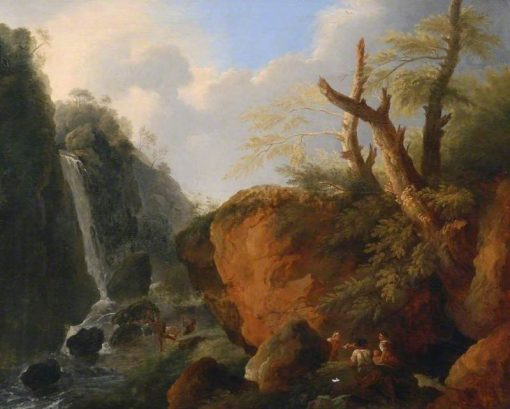 A Cascade in a Rocky Landscape with Figures | French School th Century   Unknown | Oil Painting