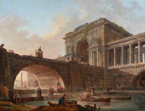 Architectural Capriccio with Bridge and Triumphal Arch | Hubert Robert | Oil Painting