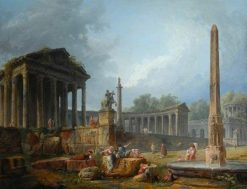 Architectural Capriccio with Obelisk | Hubert Robert | Oil Painting
