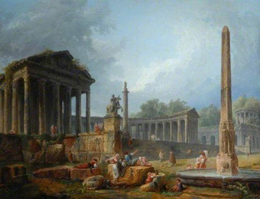 Architectural Capriccio with Obelisk | Hubert Robert | Oil Painting