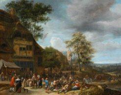 Villagers Merrymaking Outside an Inn | Jan Havicksz. Steen | Oil Painting