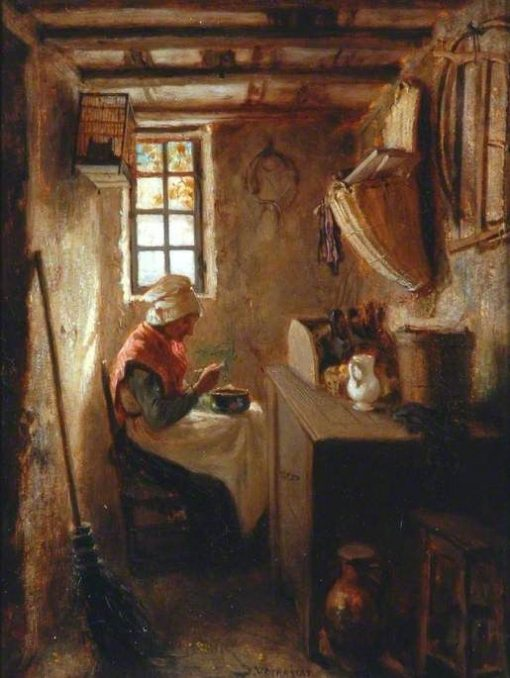 Interior with an Old Woman Eating Soup | Jules Jacques Veyrassat | Oil Painting