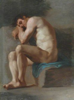 Academic Study of a Seated Male Nude | Pierre Subleyras | Oil Painting