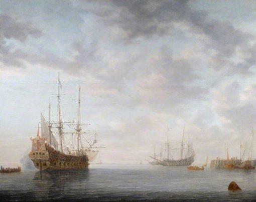 Dutch Men-of-War at Anchor   Simon de Vlieger   Oil Painting