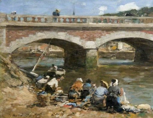 Washerwomen on the Banks of the River Touques | Eugene Louis Boudin | Oil Painting