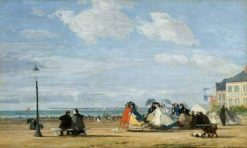 The Beach at Trouville: The Empress Eugenie | Eugene Louis Boudin | Oil Painting