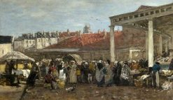 The Old Fish Market in Brussels | Eugene Louis Boudin | Oil Painting