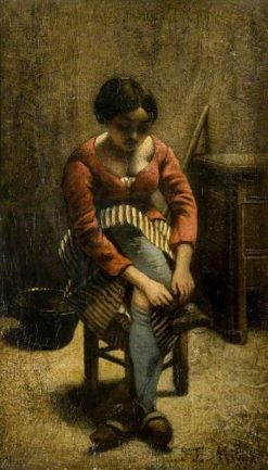A Woman Adjusting her Stocking | Jean Francois Millet | Oil Painting