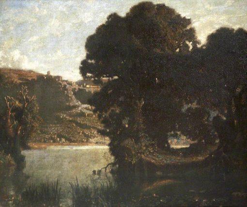 Lake Nemi Showing Castel Gandolfo and the Barberini Palace
