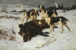 Hounds with a Boar | Charles Olivier de Penne | Oil Painting