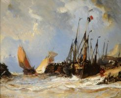 Fishing Boats on a Beach | Eugene Isabey | Oil Painting