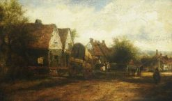 A Village Scene with Figures | Frederick Waters Watts | Oil Painting