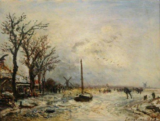 Coast Scene with Windmills | Johan Barthold Jongkind | Oil Painting