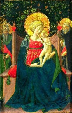 Virgin and Child Enthroned between Saint Dominic and a Papal Saint   Benozzo Gozzoli   Oil Painting