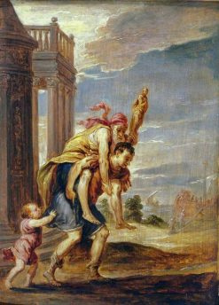 Aenaes Fleeing Troy (after Andrea Schiavone)   David Teniers II   Oil Painting