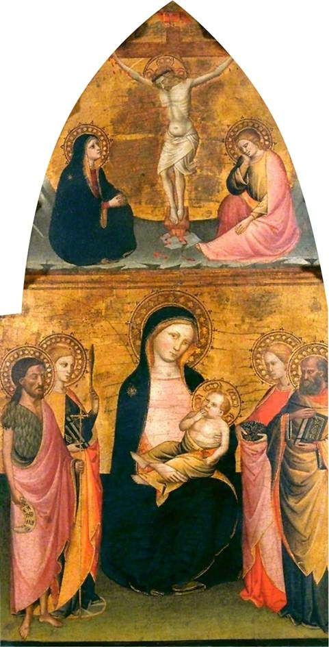 Virgin and Child with Four Saints and Christ Crucified   Jacopo di Cione   Oil Painting