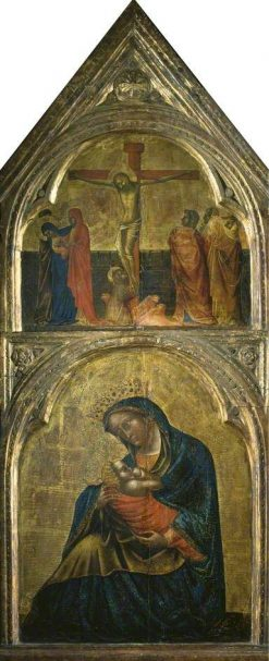 Virgin and Child with a Crucifixion   Lorenzo Veneziano   Oil Painting